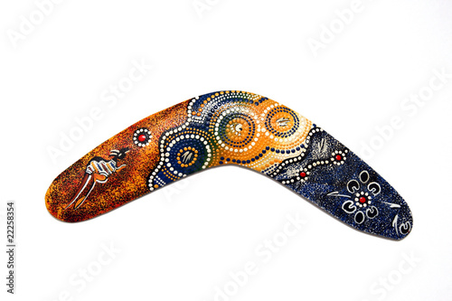 Australian Boomerang with beautiful design. Isolated on white