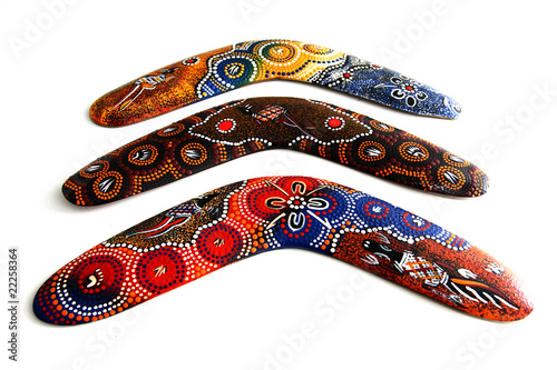 Poster Australian Boomerang with beautiful design. Isolated on white