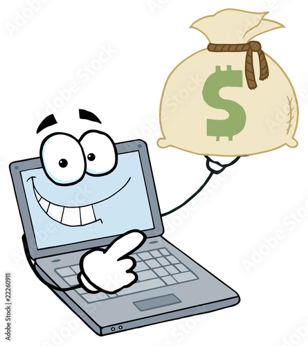 Cartoon Characters Money. Laptop Cartoon Character