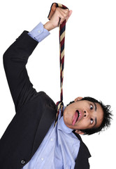 Businessman hanged b necktie