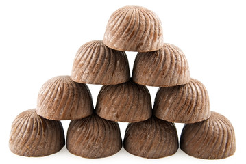 Pyramid from chocolate sweets