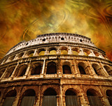 Colosseum on antique background