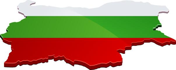 Carte de la Bulgarie 3D drapeau (détouré)