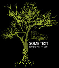 green tree and text