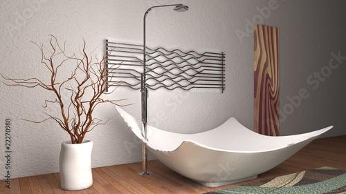 Vasca da bagno con quadro e termoarredo