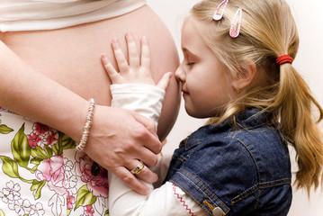 Girl Hugging mother's belly 4