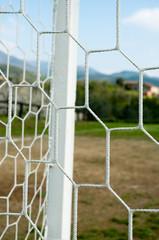 Particolare della rete di una porta da calcio