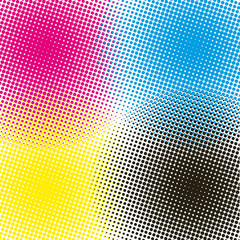 Halftone CMYK vector illustration background