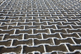 Snow texture on paving slab poster