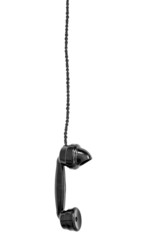 Hanging black telephone receiver