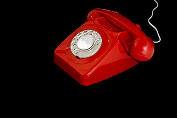 Red Retro Dial Telephone