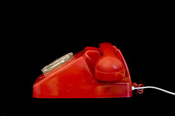 side view of red telephone