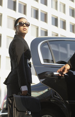 Asian businesswoman getting into town car