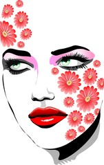 Ragazza Con Tatuaggi di Fiori-Girl with Flowers Tattoos-Vector