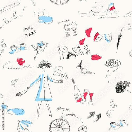 Memories of Paris (seamless set of doodles).