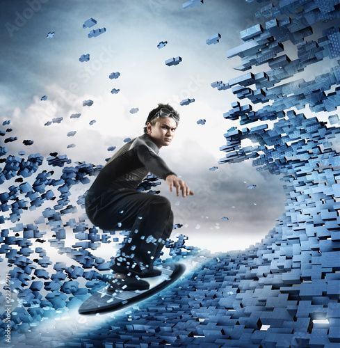 Computer generated image of man surfing technology wave