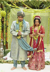 Indian bride and groom in traditional dress