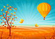 Fantastic autumn scenery with a tree and a hot air balloon