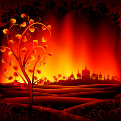 Fantastic burning hell scenery with a tree and an ancient city