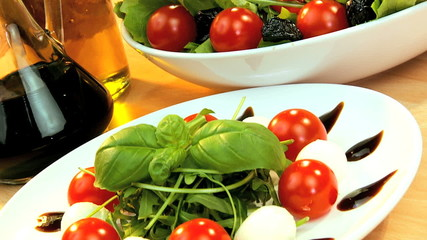 Healthy meal of salad & olive oil