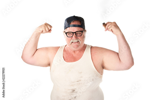 Flexing large man