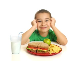 Kid with a healthy sandwich meal, isolated