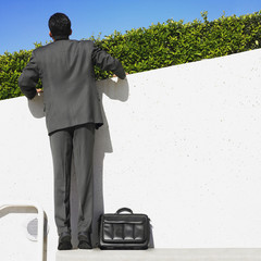 Hispanic businessman looking over hedge