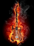 Burning rock guitar