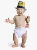 Baby wearing Happy New Year hat