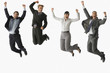 Multi-ethnic businesspeople jumping