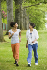 African American mother and adult daughter walking in park
