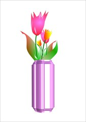 tulips in 3d vase on white