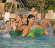 Multi-ethnic friends in swimming pool