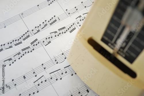Music score and metronome