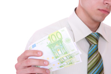 money in a businessman hands