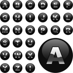 Vector alphabet for web. Button set.