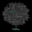 POLITICS. Wordcloud vector illustration.