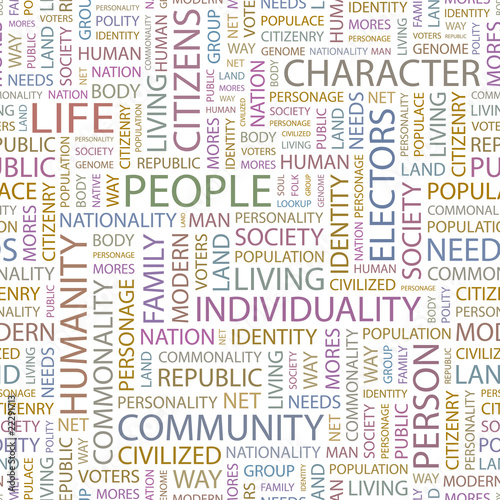 PEOPLE. Seamless vector pattern with word cloud.