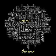CINEMA. Word collage on black background.