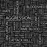 AGGRESSION. Seamless vector pattern with word cloud. poster