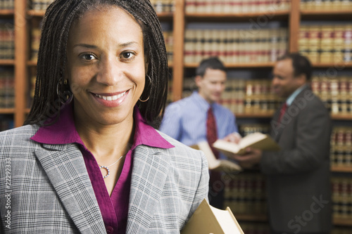 African American businesswoman in library