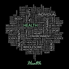 HEALTH. Illustration with association terms in black background.