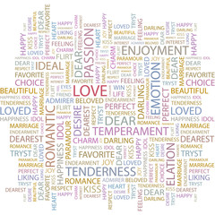 LOVE. Word collage on white background.
