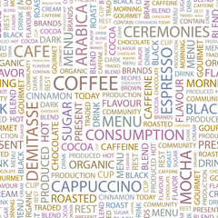 COFFEE. Seamless vector pattern with word cloud.