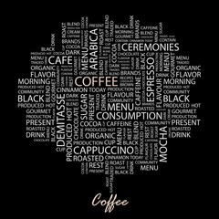 COFFEE. Wordcloud illustration.