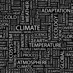 CLIMATE. Seamless vector pattern with word cloud.
