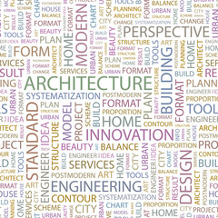ARCHITECTURE. Seamless vector pattern with word cloud.
