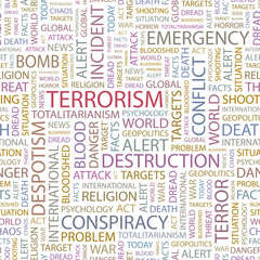TERRORISM. Word collage on white background.