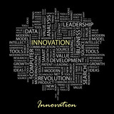 INNOVATION. Wordcloud illustration. poster