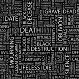 DEATH. Seamless vector pattern with word cloud. poster